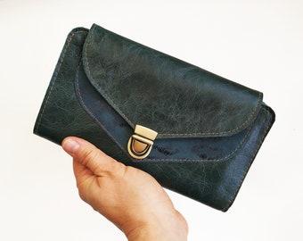 Dark green women's wallet, unique gift for her, Handmade wallet, green wallet, big wallet, credit card wallet