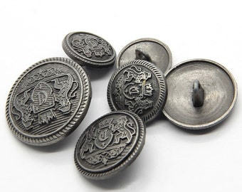 6~10 Pcs 0.59~0.98 Inches Retro Anti-Silver Lions Crown Metal Shank Buttons For Coats