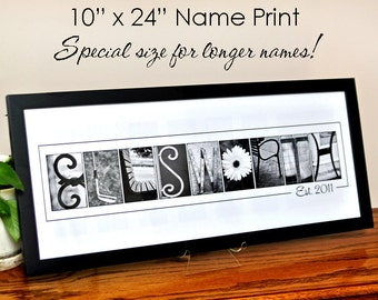 Delightful Custom LAST NAME Alphabet Photography Photo Letters 10x24 Print (unframed)  Special Size For Longer