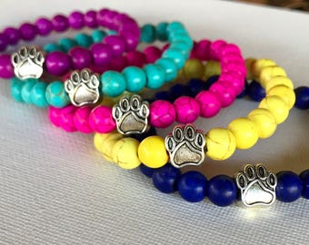 Pet lover stocking stuffer! Choose your color - stacker yoga bracelets with center paw bead