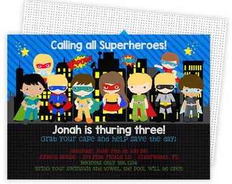 Superhero Invitation, Super Hero Invitation, Superhero Birthday Invitation, Superhero Party, Printable Invitation, Superhero Birthday | 273