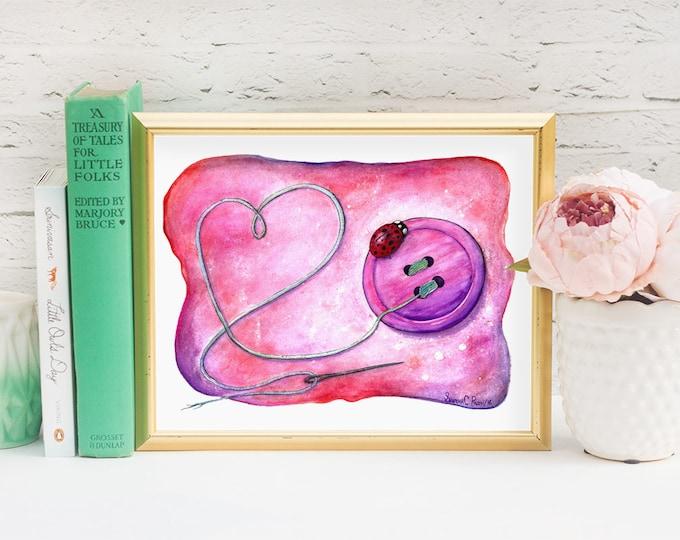 Ladybug Watercolor Print -  Pink Nursery Wall Art Illustration Lady Bug Birthday - Watercolour Ladybird Painting - Sewing Gift Playroom Art