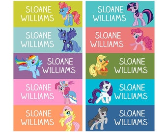 Set of 60 Personalized name back to school cute design stickers 10 patterns my little pony