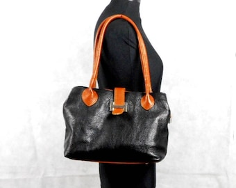 Vintage Leather Handbag Borse In Pelle Black Brown Genuine Leather Bag Textured Leather Made in Italy