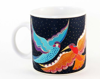 "RARE Vtg LAUREL BURCH ""Night Birds"" Mug / Ceramic 1991Taiwan / 4"" Tall / Great Christmas Gift - Bird Lover's Gift ! ! Very Nice!!"