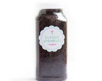 16oz (2 cups) Bottle Chocolate Jimmies, Gluten-Free, Vegan, Skinny Sprinkles, Brown Sprinkles, Canadian Sprinkles