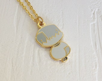Robot Necklace - 14k Gold Filled Chain + 18k Gold Plated Charm Pendant