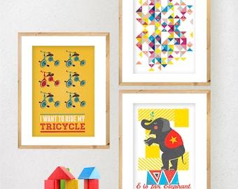 Retro Set of 3 x A4 prints. Choose ANY 3 designs in the shop. Nursery art, Mid Century, Retro posters, Geometric wall art.