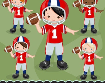 Football clipart. Sport graphics, boys american player characters, planner stickers, commercial, kids, scrapbooking, embroidery, activity