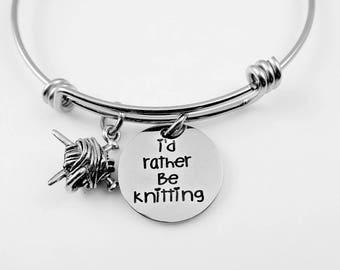 Knit - I'd Rather Be Knitting Bangle Bracelet or Necklace - Knitter Yarn - Mom Grandma Friend