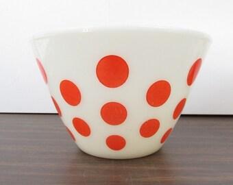 """Orange Dot Mixing Bowl. Anchor Hocking Fire king 8 1/2"""" Orange Polka Dot.  Nesting Bowl"""