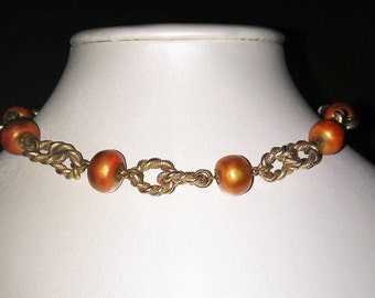 Pearlescent Burnt Orange Bead Necklace