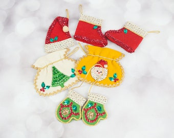 Vintage Christmas Handmade Felt Ornaments Sequin Ornaments Vintage Ornaments Santa Claus Christmas Tree Santa Hat Red White Green Gold