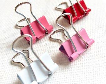 Rose clips relié à la main, pince-notes rose, rose moyen de pince, pinces à longue queue, papeterie rose, clips rouge relié à la main, pinces pour reliures de couleur