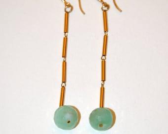 Long earrings vintage green Jade