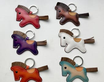 Leather Horse/ Pony keychain charm in assorted colors