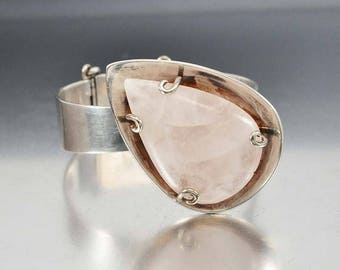 Sale Silver Los Castillo Rose Quartz Bracelet, Modernist Sterling Silver Cuff, Mexican Taxco Silver Bracelet, Pink Stone Statement Bracelet