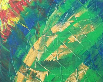 """Blue, Green, Orange, Red and Yellow Original Acrylic Abstract Painting on Canvas """"Series 4 XCVI"""" Wall Art, Home Decor, Las Vegas Artist"""