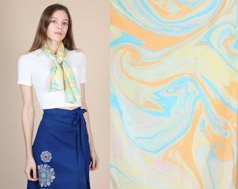 Vintage Silk Scarf // 60s 70s Swirl Print Ascot