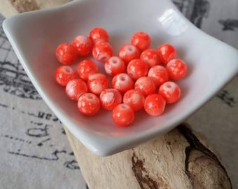 10 assorted glass beads look marbled bright orange 8mm round
