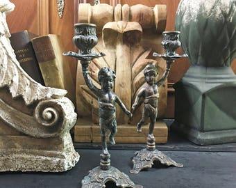 Cherub Candlesticks Pair - French Antiques - Antique Brass Candle Holder - Vintage Candelabra - Brocante - Vintage Wedding - Shabby Chic