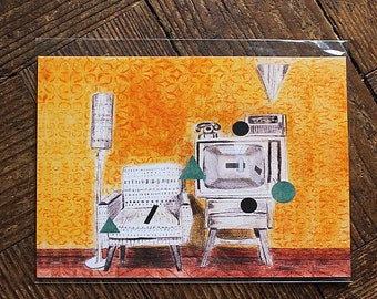 Abstract Print, Mid Century Art, Yellow Abstract Print, Wall Art, Contemporary Art, Illustration Print, Modern Art, Postcard Print