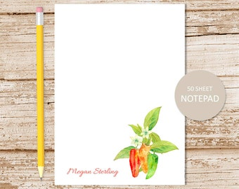 personalized notepad . note pad . chili pepper . watercolor peppers . pepper notepad . gardener stationery . stationary gift