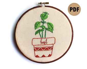 Basil PDF Embroidery Pattern, Herb Garden Wall Hanging, Herb Art Embroidery Design, Potted Herbs, DIY Crafts, Plant Lady, Digital Download