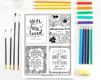 4-in-1 Mini set, Printable Coloring Page, Christian Coloring, Inspirational Coloring, Intstant Digital Download