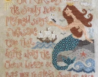 Coming Soon! SILVER CREEK SAMPLERS Melody's Song counted cross stitch patterns at thecottageneedle.com nautical ocean sea mermaid