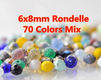 200pcs Rondelle Crystal Glass Faceted Beads 6x8mm Mix Set  -MX03