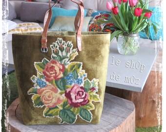 Tapestry Purse, Canvas Handbag Flowers Velvet : L'Alexandrine