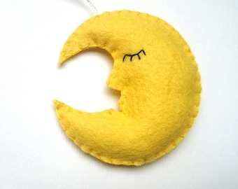 Felt moon ornament home decoration for kids room Housewarming Baby shower gift for her for him gift idea nursery decor home design