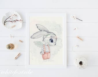 Wall Art, Bunny Nursery Art, Woodland Nursery, Kids Scandinavian Art Print, Art Print, Bunny Art , Animal Nursery Decor, Boys Nursery Art