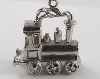 Old Fashioned Locomotive With Steam Sterling Silver Vintage Charm For Bracelet