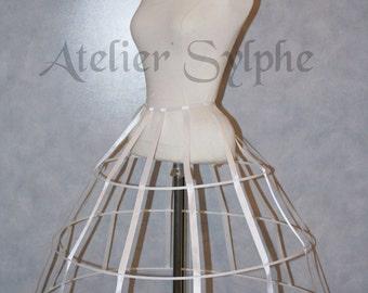 White color triangular Crinoline hoop cage skirt pannier 3 rows elastic waist simple cage