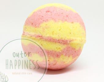 large Pink grapefruit bath bomb, fruity bath bombs, pink and yellow bath bomb, ruby grapefruit, organic bath bomb, gift under 10, vegan