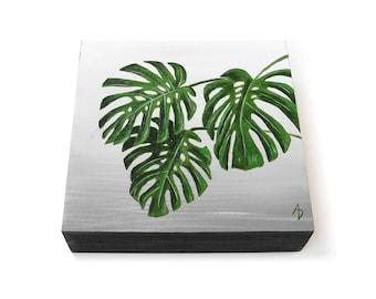Monstera leaves - green leaf monstera painting - modern plant painting - botanical art decor - realistic houseplant painting - big leaves