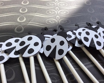 12 Black and White Ladybug Cupcake toppers