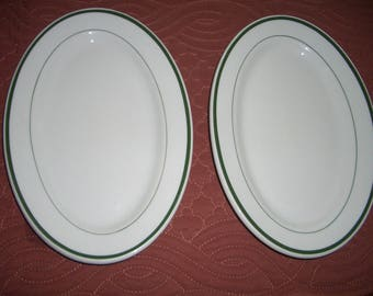 Two Vintage Shenango China Restaurant Ware Oval Plates...White With Green Trim