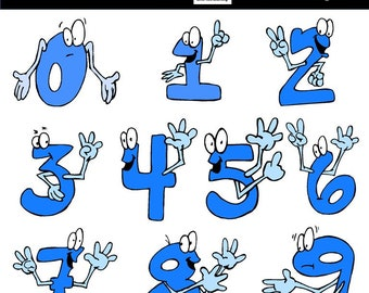 Funny Emoticon Numbers Clipart / Number Faces / Counting Numbers Clipart / Numbers Clipart for Kids / Learning Numbers / Commercial Use
