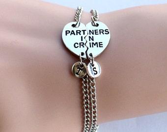 PARTNERS IN CRIME bracelet, initials friendship bracelet set, best friends, best bitches, broken heart set, sisters gift jewelry