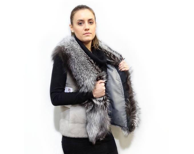 Real Mink Fur Sapphire & Silver Fox Fur Vest,Grey Mink and Fox Vest F408