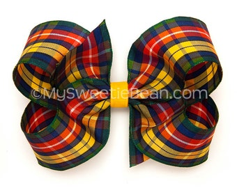 Buchanan Plaid Hair Bow, Buchanan Tartan Bow, 4 inch Hair Bow, Scottish Highlander, Red Green Gold Navy, Scottish Festival Outlander Cosplay