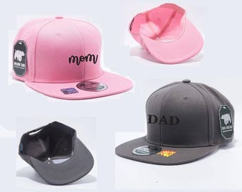 Mom and Dad Cursive Snapback Hat Gray and Pink Baby Announcement Hats