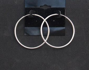50 mm Sterling Silver, Sterling Silver Hoop Earrings, Large Hoop Earrings, Sterling Silver Hollow Tube Earrings,