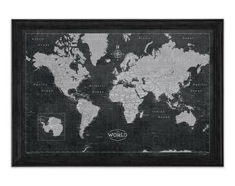 Custom world map etsy modern world travel map poster modern slate style map gumiabroncs Gallery