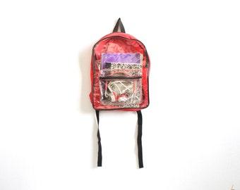 90s CLEAR see through BACKPACK color block adventure school KNAPSACK book bag nylon