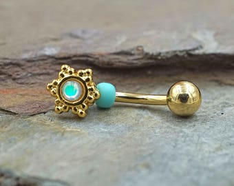 Snowflake Gold Rook Earring Daith Piercing Eyebrow Ring