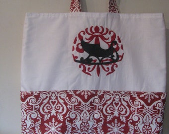 Damask Sleigh Christmas Winter Eco Friendly Tote - Shopping Bag